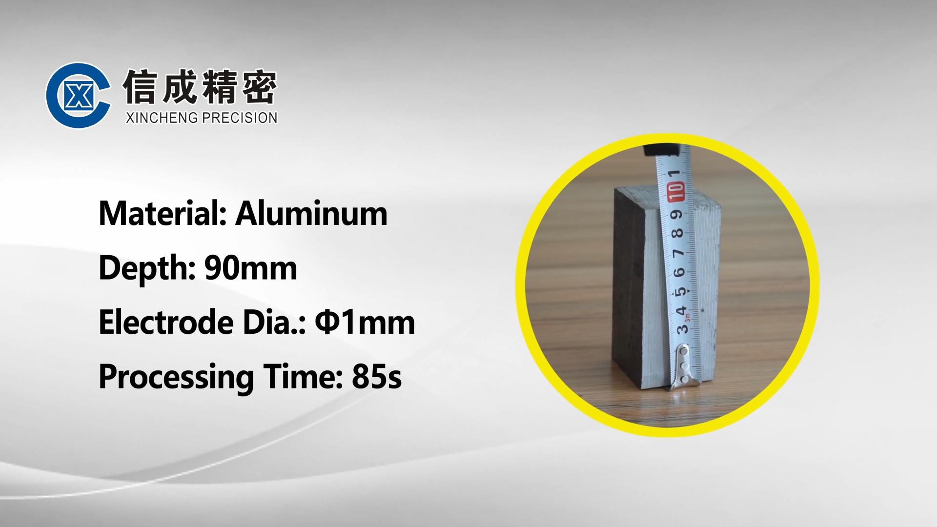 DK-908 da máquina de perfuração EDM-alumínio (90mm / Φ1.0mm / 85s)